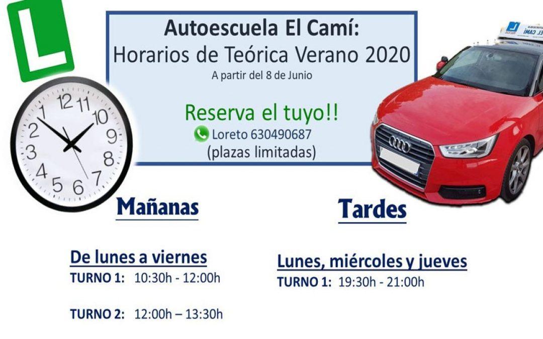 Horarios Teórica Coche Verano 2020. Reserva Horario!!!